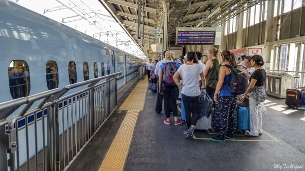 Japan railway station passenger queue