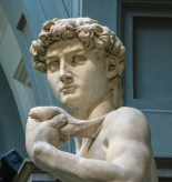 Michelangelo's David face bigger than the body in Florence