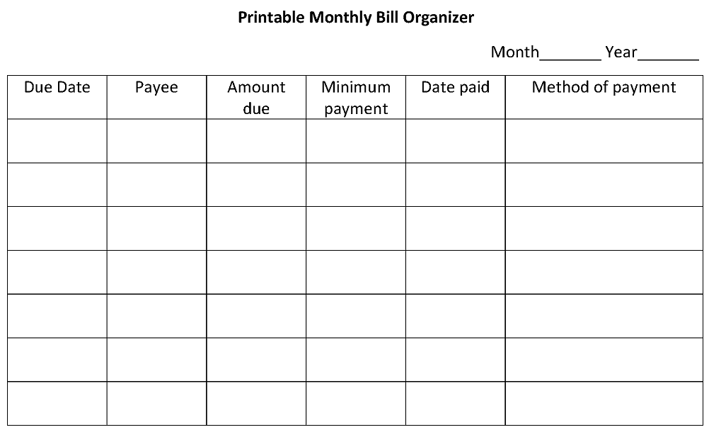 photo about Create a Printable Monthly Bill Organizer named on the web expenditures organizer -