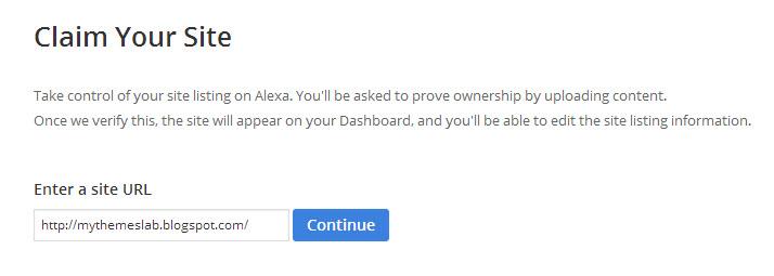 Claim or Add Site in Alexa
