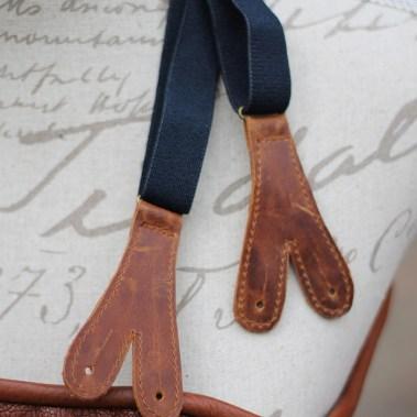 Hängslen omgjorda till äldre stil med läder.