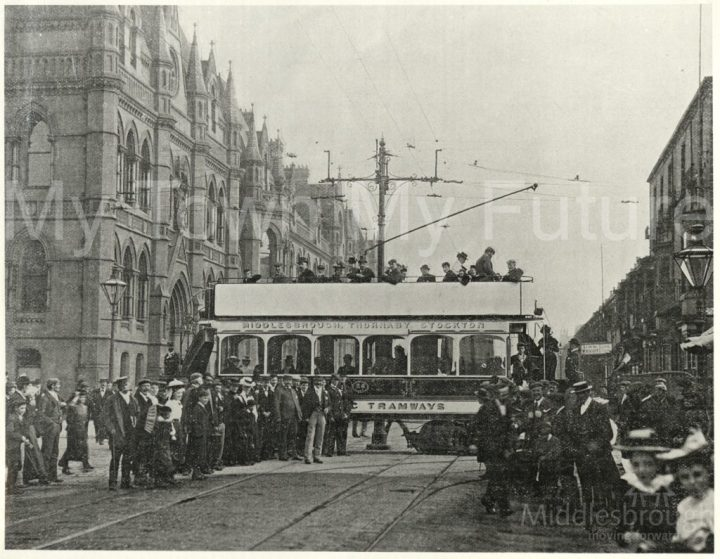 Tram crossing at Corporation Road (1910)