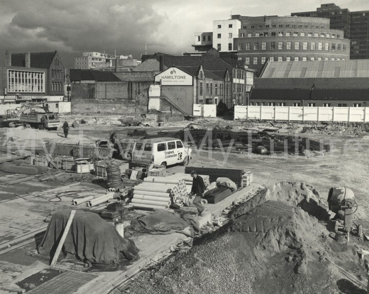 Photo of Middlesbrough Bus Station. A general view of the foundation works.