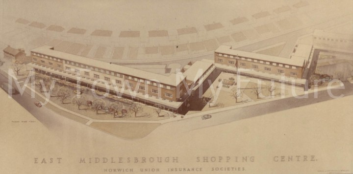 Postcard style print of East Middlesbrough Shopping Centre