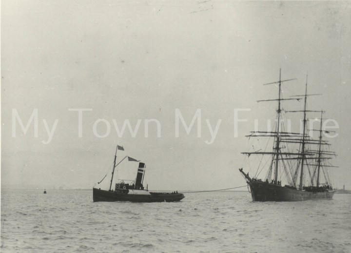 Tug - The Empress of India Leaving the River Tees, c1910 - Department of Planning, Cleveland County Council