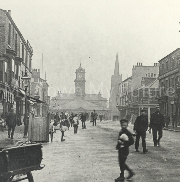 Looking north to the Old Town Hall and St Hilda's Church.