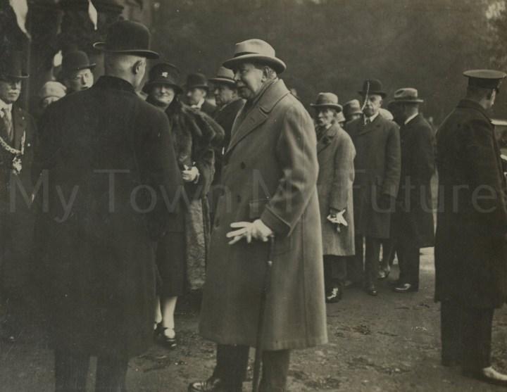 Stewart Park - Opening - Mr Stewart talking to C.H.F. Bolckow