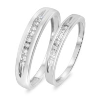 1/10 Carat T.W. Diamond His And Hers Wedding Rings 10K ...