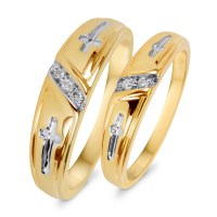 1/20 Carat T.W. Diamond His And Hers Wedding Band Set 10K ...