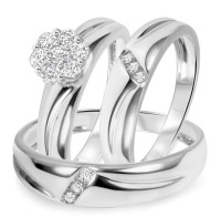 1/2 CT. T.W. Diamond Trio Matching Wedding Ring Set 14K ...