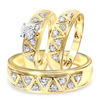1/2 Carat Diamond Trio Wedding Ring Set 10K Yellow Gold