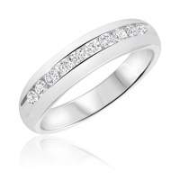 1/2 Carat T.W. Diamond Men's Wedding Ring 14K White Gold ...