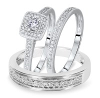 1/2 Carat T.W. Round Cut Diamond Matching Trio Wedding ...