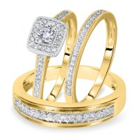 Wedding rings with engraved: Trio wedding ring sets yellow ...