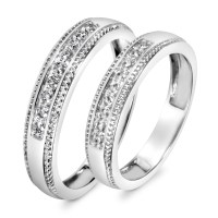 1/3 CT. T.W. Diamond His And Hers Wedding Band Set 10K ...