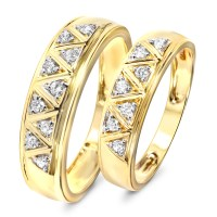 1/3 Carat T.W. Diamond His And Hers Wedding Band Set 14K