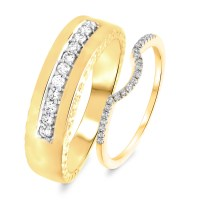 1/3 Carat T.W. Round Cut Diamond His and Hers Wedding Band ...