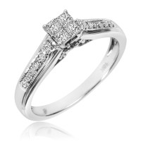 1/4 CT. T.W. Diamond Ladies' Engagement Ring 10K White ...