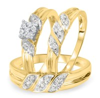 1/4 Carat Diamond Trio Wedding Ring Set 14K Yellow Gold ...