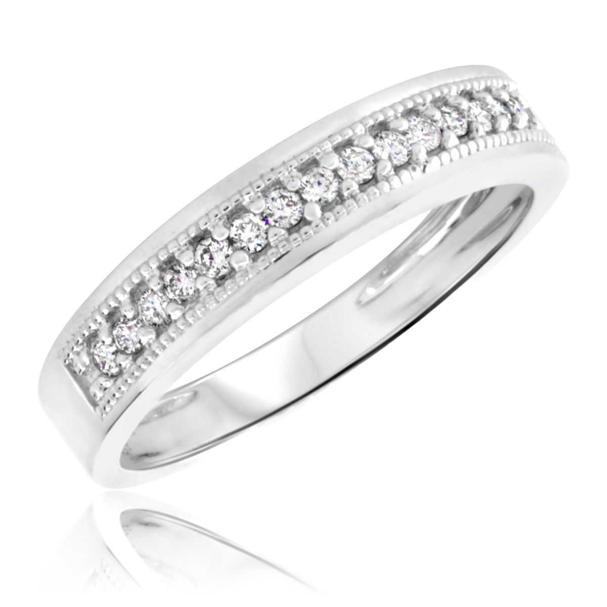 14 Carat TW Diamond Mens Wedding Ring 14K White Gold