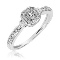 1/8 CT. T.W. Diamond Ladies Promise Ring 10K White Gold ...
