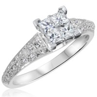 1 CT. T.W. Diamond Ladies Engagement Ring 10K White Gold ...