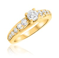 1 Carat T.W. Round Cut Diamond Ladies Engagement Ring 14K