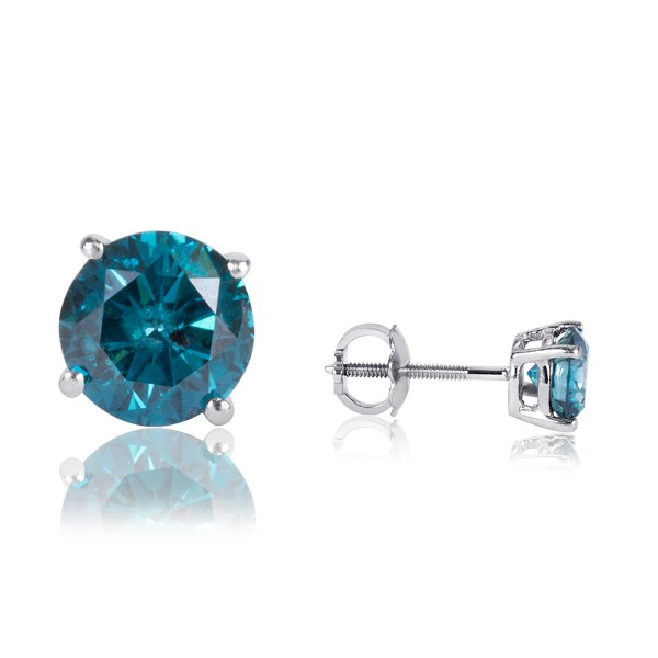 1 Carat T. Cut Solitaire Blue Diamond Stud Earrings 14k White Gold And