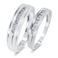 3/8 CT. T.W. Diamond Matching Wedding Band Set 10K White ...