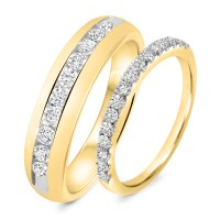 7/8 Carat T.W. Diamond His And Hers Wedding Band Set 14K ...