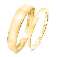 Traditional Wedding Band Set 10K Yellow Gold | My Trio ...
