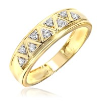 1/2 Carat Diamond Trio Wedding Ring Set 14K Yellow Gold