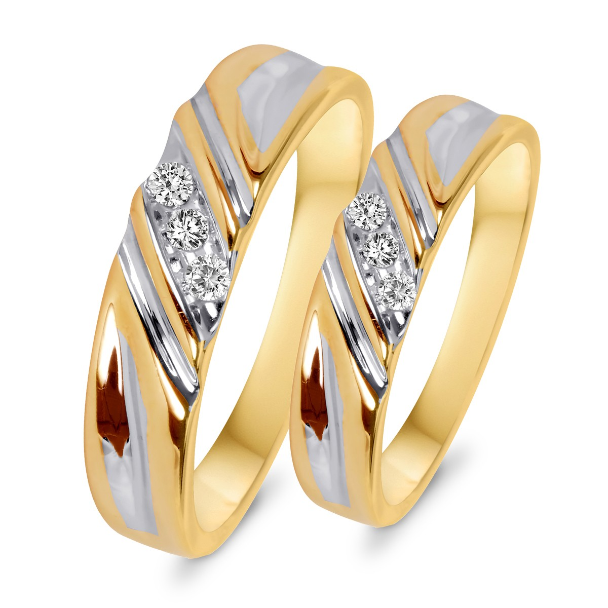 110 CT TW Diamond His And Hers Wedding Rings 10K Yellow Gold