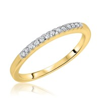 1 Carat Diamond Trio Wedding Ring Set 14K Yellow Gold