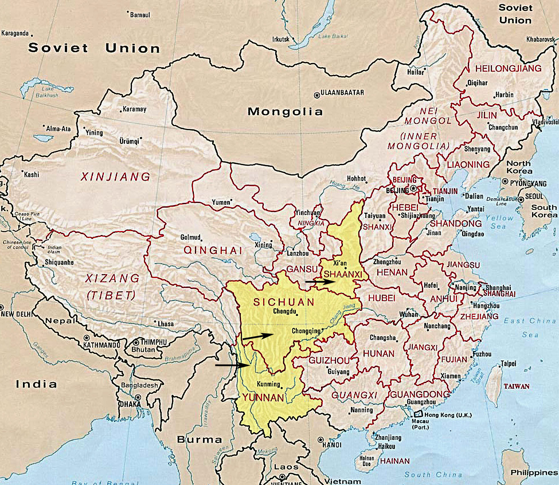 China Map With Provinces And Cities