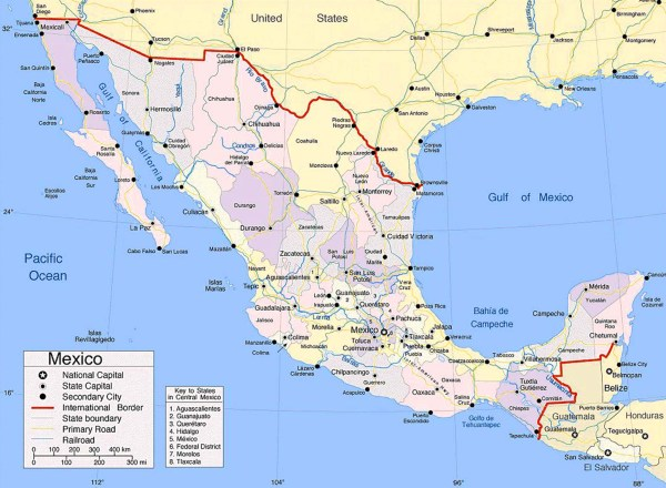 Large size Map of Mexico showing the cities Travel