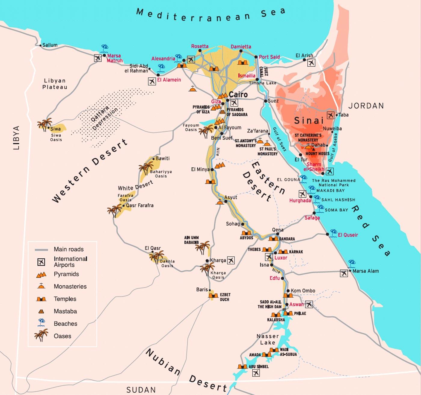 Egypt Touristic Map Showing Travel Destinations Travel