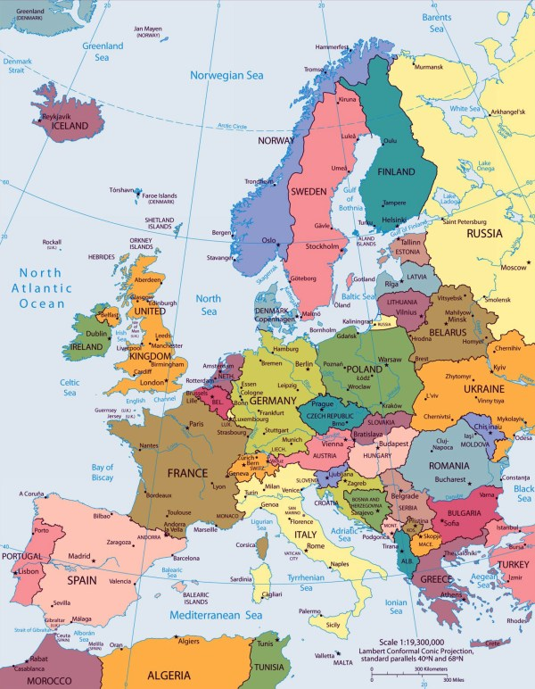 Large big Europe flag political map showing capital cities Travel Around The