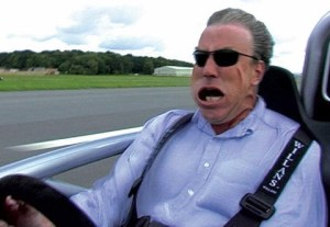 Jeremy Clarkson driving fast in an Atom