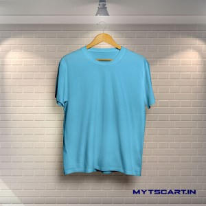 100% Cotton Sky Blue Plain T shirt @299 Only