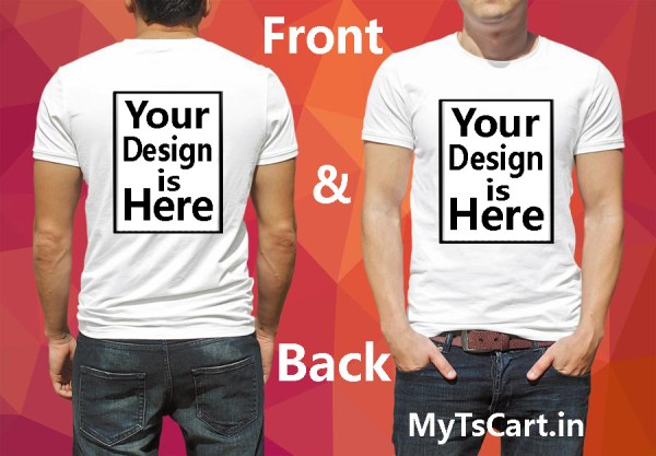 Front and Back printing custom t shirt white