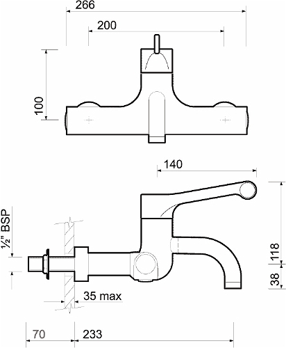Sola Thermostatic Surgeons Mixer Lever Tap Wall Mounted