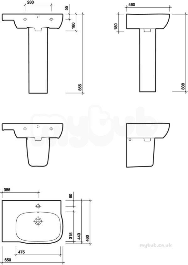 Moda Offset Washbasin 650x460 Left Hand 1 Tap With Total