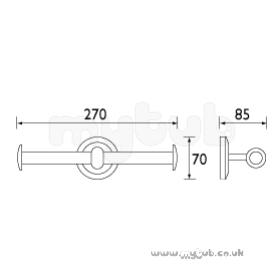 Solo T-bar Double Toilet Roll Holder Cp : Bristan