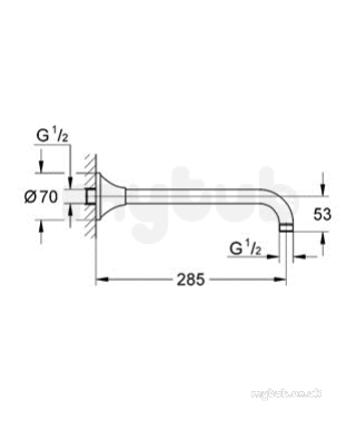 Rsh Grandera Hower Arm Wall Mount 286mm 27986ig0 : Grohe