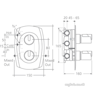 Ideal Standard Trevi Outline A3700 Bi Thermo Valve Cp