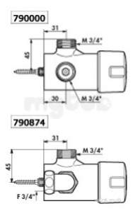 Delabie Tempomix Exposed Shower Mixer M3/4 Inch 30sec Time