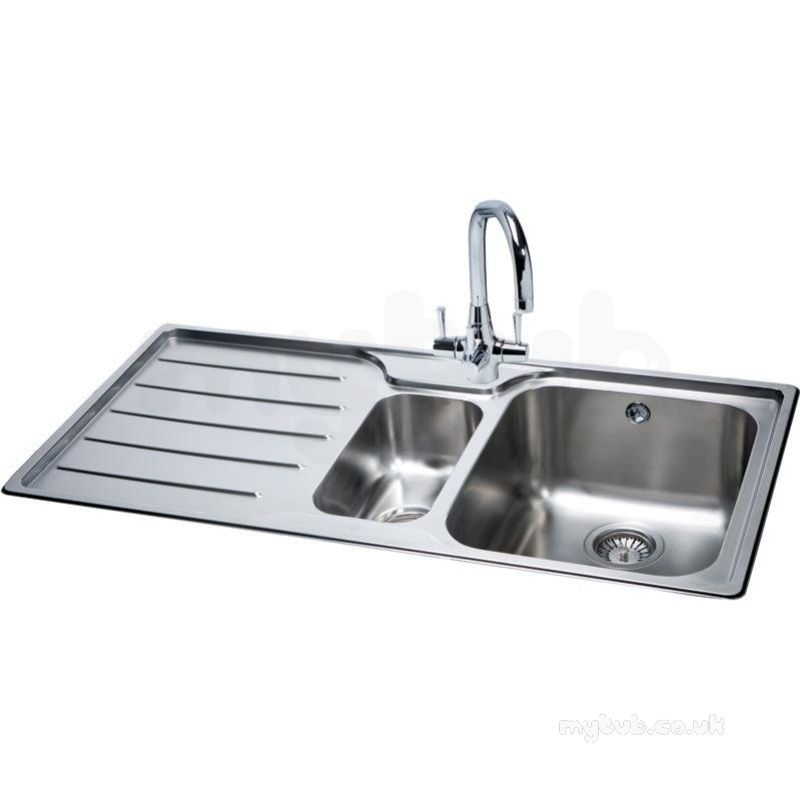square kitchen sink island light fixtures isis deep 1 5 bowl with left handed drainer carron