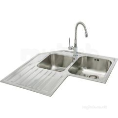Sink For Kitchen Portable Cabinets Small Apartments Lavella Corner With Left Hand Double Bowl And Drainer Carron Retail Sinks