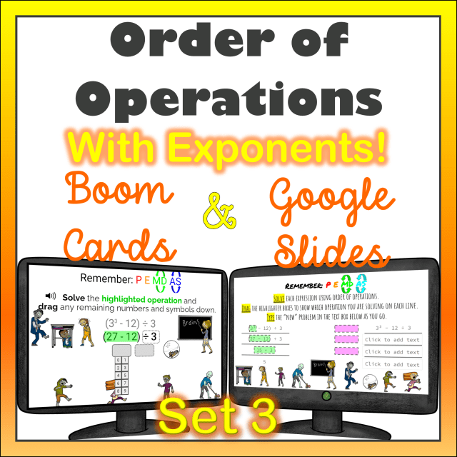 Order of Operations with Exponents Boom Cards and Google Slides